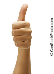Female hand with thumbs up positive gesture