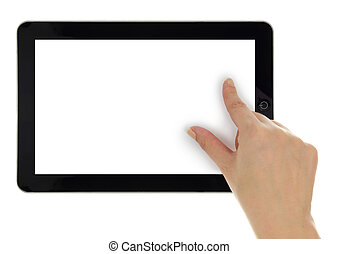 Female hand zoom in on tablet with blank screen isolated