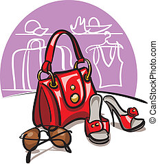 female handbag, shoes and sunglasse