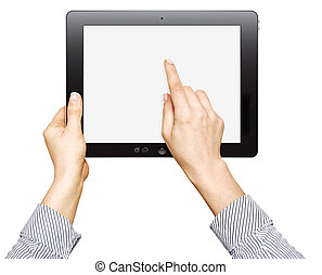 touch screen device - female hands are holding and point on ...