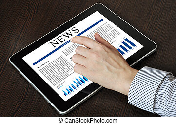 touch screen device with business news
