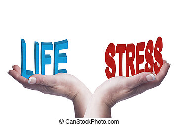 Female hands balancing life and stress 3D words conceptual...