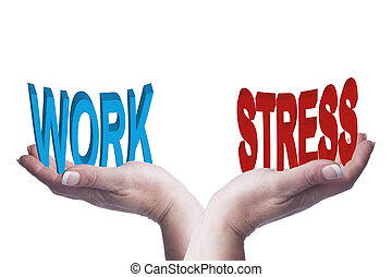 Female hands balancing work and stress 3D words conceptual image representing lifestyle choices, work life balance and mental health ideas