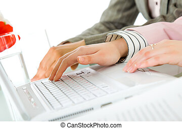 Female hands business laptop