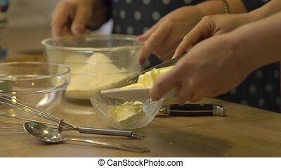 Female Hands Cut Butter - Female hands cut butter womens...
