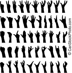 Female hands - fifty female hands gesturing silhouettes