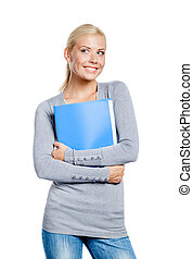 Female hands folder with documents
