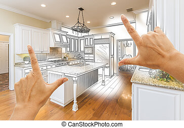 Hands Framing Custom Kitchen Design Drawing and Photo Combination