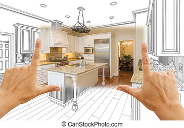 Hands Framing Custom Kitchen Design Drawing and Square Photo Combination