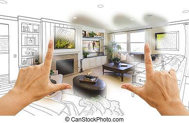 Hands Framing Custom Living Room Drawing Photograph...