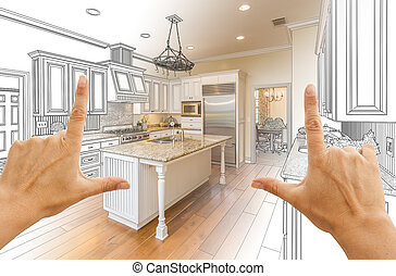 Hands Framing Gradated Custom Kitchen Design Drawing and Photo Combination