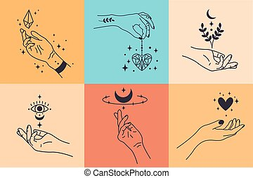Female hands. Hand drawn minimal hand gestures. Feminine arms with crystal, heart and flower vector illustration set