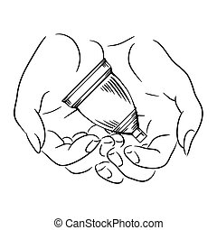 Female hands hold the menstrual cup. Caring for womens health. Zero waste product. Vector contour illustration for postcards, articles and your creativity.