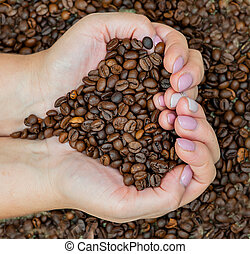 Female hands holding a handful of roasted coffee beans