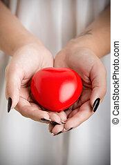 Female Hands Holding a Heart - Closeup of female hands...