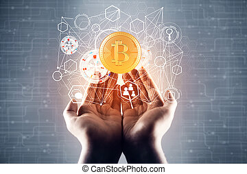 Female hands holding abstract bitcoin hologram on blurry circuit hologram. Cryptocurrency concept