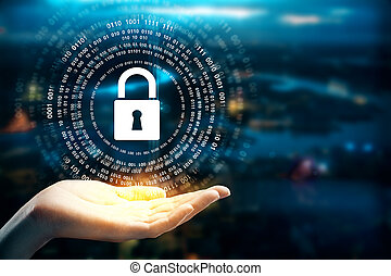 Protection concept - Female hands holding abstract padlock...
