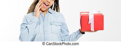 female hands holding big holiday box isolated