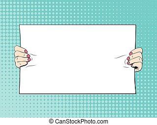 Female hands holding blank banner. Illustration in comic style
