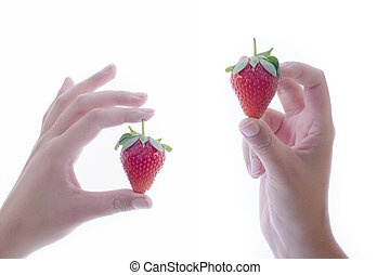 female hands holding delicious looking strawberries on a light background. Healthy food concept.