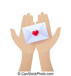 Female hands holding love letter