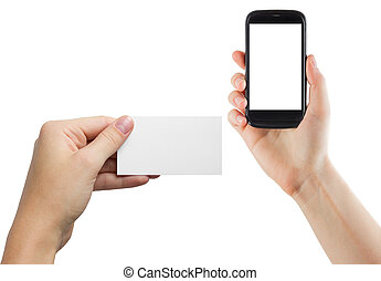 Female hands holding mobile phone with isolated screen and blank business credit card isolated on white background