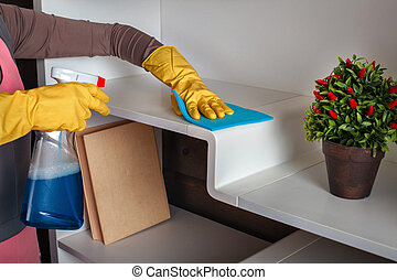 Female hands in gloves cleans the shelf with spray