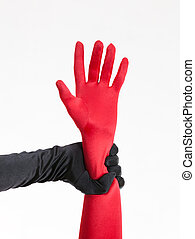 female hands in gloves