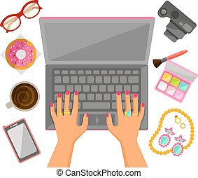 female hands on a laptop