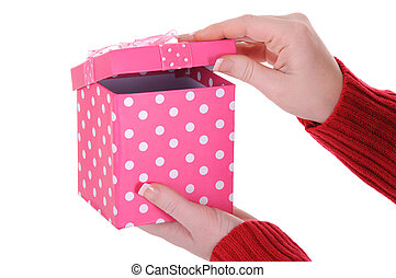 Female Hands Opening a Pink Gift Box