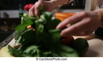 Female hands putting spinach leaves into spinner