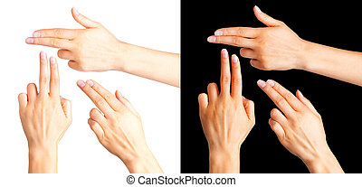 Female hands showing two fingers in the peace symbol