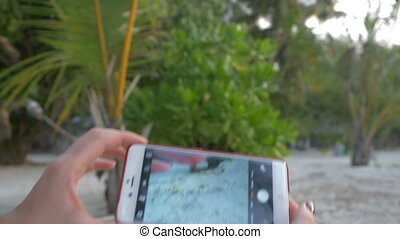 Female hands taking photo of a beach with a smartphone.