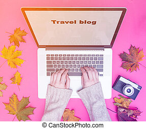 Female hands typing at laptop computer for travel blog