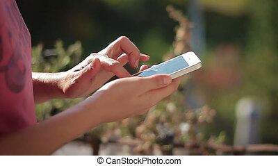 Female Hands Typing Sms