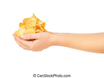 Female hands with chips isolated on white