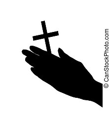 female hands with crucifix isolated on white background