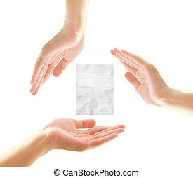 Female hands with crumpled paper in recycle concept