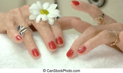 Female hands with flower after spa. Healthy and beautiful...