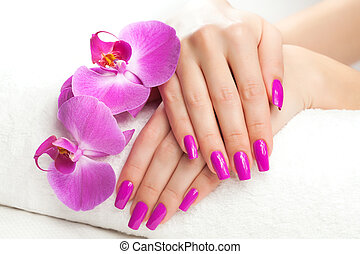 female hands with fragrant orchid and towel. Spa - female ...