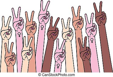 Female hands with peace and female sign, vector illustration