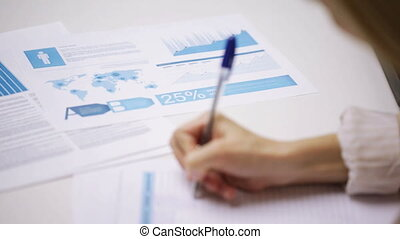 female hands with pen filling papers - education, business,...