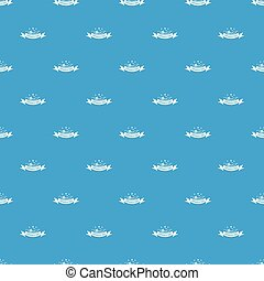 Female hat pattern vector seamless blue repeat for any use