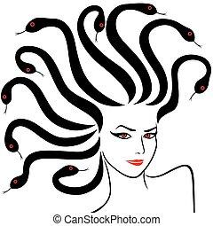 Female Head as a Medusa Gorgon, vector illustration