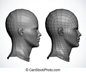 Female head in profile. Vector - Vector heads. Spline are...
