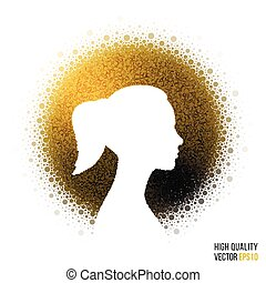 Female head silhouette design for greeting card template, woman