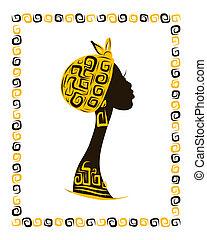 Female head silhouette for your design, ethnic ornament