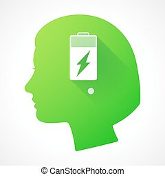 Female head silhouette icon with a battery
