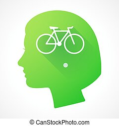 Female head silhouette icon with a bicycle