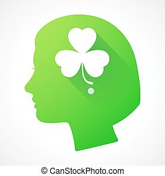 Female head silhouette icon with a clover